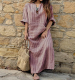 Retro Striped Dress for Women 2018 Autumn V Neck Long Sleeve Dresses Lady Vintage Casual Loose Maxi Long Vestidos Plus Size 5XL - thefashionique