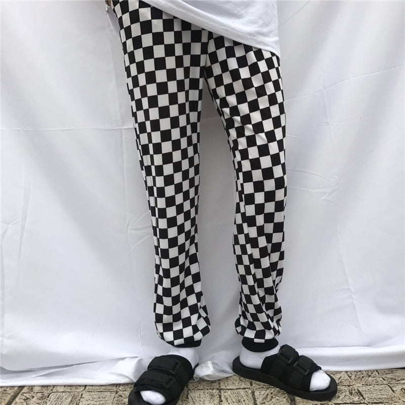 Retro Style Black And White Checkerboard Pants New Summer Fashion Street Men And Women INS Pants - thefashionique