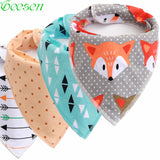 Reusable Washable Cotton Baby Bibs Burp Cloth Print Arrow Wave Triangle Baby Bibs Cotton  Adjustable Baby Meal Bib Infant Bibs