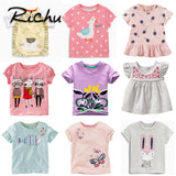 Richu t shirt dresses for summer 3d cute printed t shirts for girls short sleeve cotton baby t shirts for girls childing clothes - thefashionique