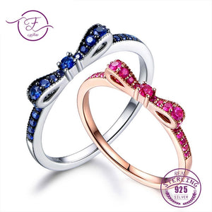Rings For Women 100% Sterling Silver 925 Fine Jewelry Blue Spinel Sparkling Bow Knot Stackable Korean Style Cute For Girls - thefashionique