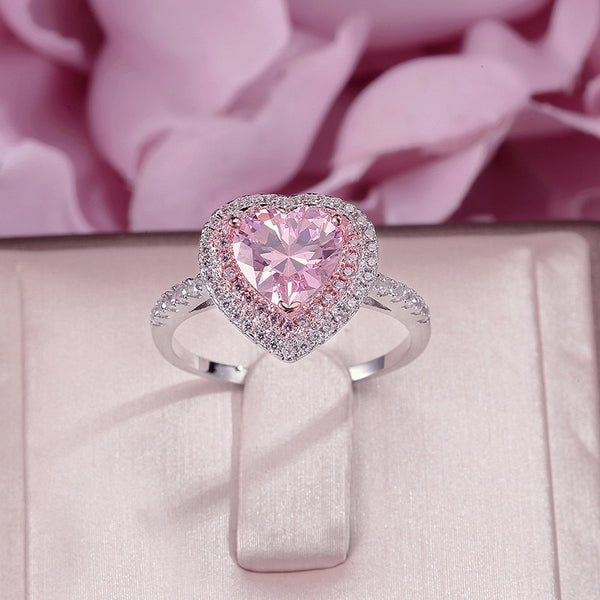 Rings For Women 925 Sterling Silver Fine Jewelry Pink Heart Cubic Zirconia Temperament Bridal Wedding Engagement Ring Bijoux - thefashionique