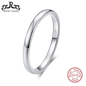 Rinntin Real Sterling Silver Women Band Engagement High Polished Bar Size 5 To Size 10 Female Rings Party 925 Jewelry TSR74 - thefashionique
