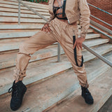 Rockmore Plain Khaki Cargo Pants Women Patchwork Belt Streetwear Buckle Office Trousers Slim Waist Fashion Fantaloon Femme 2018 - thefashionique