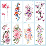 Rocooart QC Flowers Arms Tattoo Colorful Taty Body Art Waterproof Temporary Tattoo Stickers Rose Fake Tattoo Orchid Tatouage - thefashionique