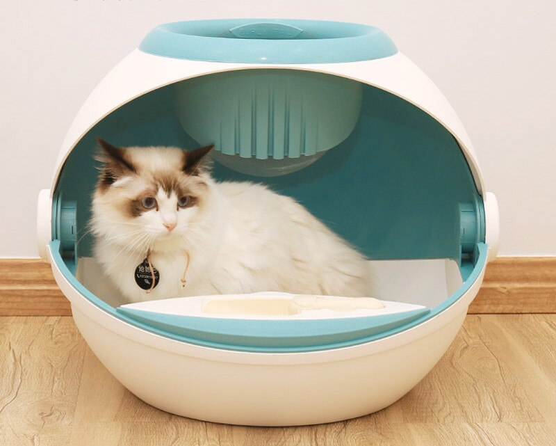 Roll tail / CURLY TAIL litter box fully closed flip large anti-splash deodorant cat with elf ball