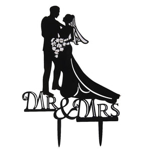 Romantic Acrylic Wedding Cake Topper Mr & Mrs Bride & Groom Wedding & Anniversary Cake Decorations