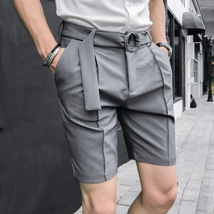 Ropa Hombre Summer Men Shorts British Men Slim Solid Color Suit Pants Shorts Side Split Leggings Casual Short Bermudas Masculino
