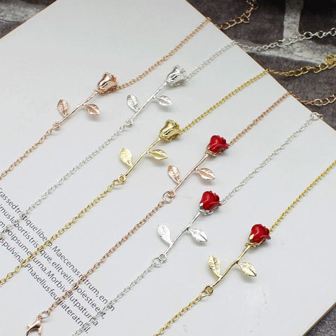 Rose Bracelet Simple Charms Flower Alloy Bracelets Bangles Red Rose Accessories Design for Sophisticated Women Jewelry Gift - thefashionique