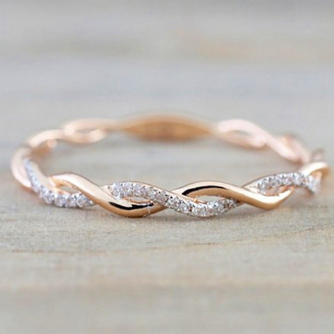 Round Rings For Women Thin Rose Gold Color Twist Rope Stacking Wedding Rings in Stainless Steel bijoux - thefashionique