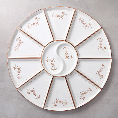 Round Table Round Tableware Fan Shaped Creative Home Platter Cutlery Combination