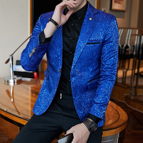 Royal Blue Blazers Mens Flowers Blazers Mens Wedding Blazers For Mens Stage Wear Club Outfits Veste Homme Costume Slim Fit 2018
