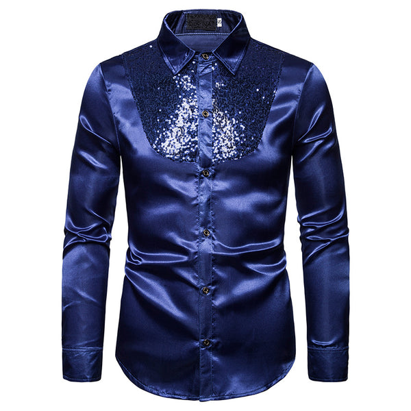 Royal Blue Shirt Men Silk Satin Smooth Shirt Luxury Sequin Tuxedo Shirt Party Stage Performance Shiny Disco Dress Shirts - thefashionique