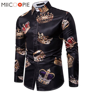 Royal Crown Print Black Shirt Men Luxury Casual Camisas Hombre Manga Larga High Quality Business Formal Slim Mens Dress Shirts - thefashionique