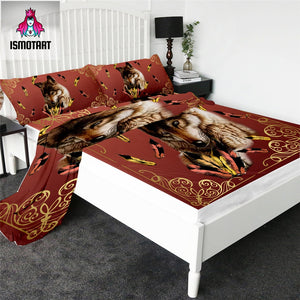 Royal Wolf Feather by Ismot Esha Fitted Sheet Set Tribal Bed Sheet Dark Red Flat Sheet Bedding 4pcs Animal Mattress Cover Set