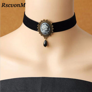 RscvonM Gothic Jewelry Vintage Lace Necklaces & Pendants Women Accessories Choker Necklace False Collar Statement Necklaces - thefashionique