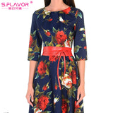S.FLAVOR Women printing dress Autumn fashion Rose printing long vestidos Good quality Women Russian style casual autumn dress - thefashionique