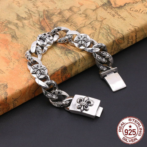 S925 sterling silver men's bracelet personality fashion classic jewelry retro punk style cross shape 2018 new gift to send lover - thefashionique