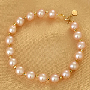 SA SILVERAGE 18K Gold with Pearl Golden Balls Single Row Bracelet AU750 Engagement Bracelet Round Pearl Women