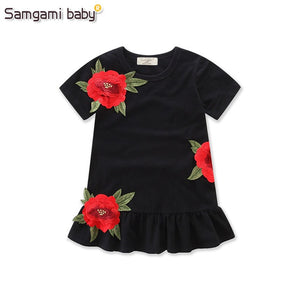 SAMGAMI BABY New Embroider Design Black Short Sleeve Dresses Fashion Cute Girls Clothes Summer Toddler Girl Dresses Size 80-120 - thefashionique