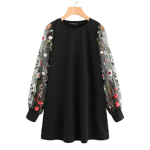 SHEIN Botanical Embroidered Mesh Sleeve Longline Pullover Elegant Black Long Sleeve Casual Fall 2017 Sweatshirts - thefashionique