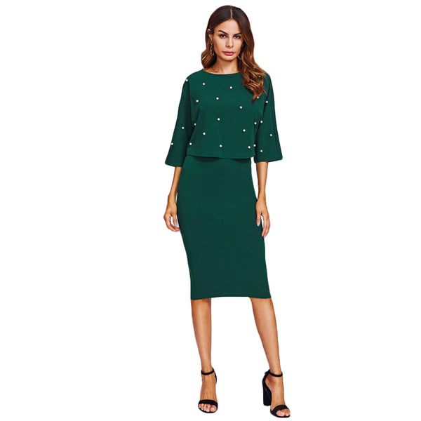 SHEIN Pearl Embellished Autumn Dress Elegant Womens Dresses Solid Green Half Sleeve Knee Length Sheath Two Piece - thefashionique