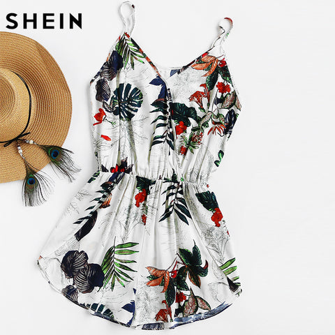 SHEIN Womens Shorts Rompers Ladies Vacation V Neck Sleeveless High Waist Jumpsuit Tropical Print Surplice Tulip Hem Cami Romper