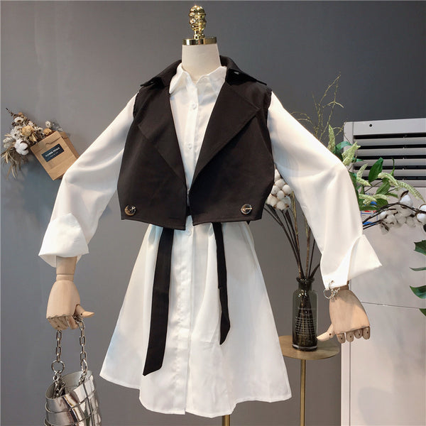 SHENGPALAE 2018 New V Collar Vintage Short Sleeveless Button Tops White Loose Above Knee Casual Dress Suit Women OA310 - thefashionique