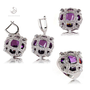 SHUNXUNZE boho wedding charm jewelry sets & more for women accessories Purple Pink Cubic Zirconia Rhodium Plated R513set R516set - thefashionique