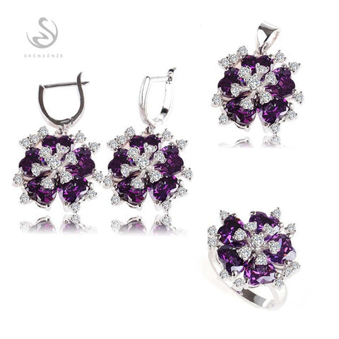 SHUNXUNZE boho wedding charm jewelry sets & more for women accessories Purple Pink Cubic Zirconia Rhodium Plated R507set R510set - thefashionique