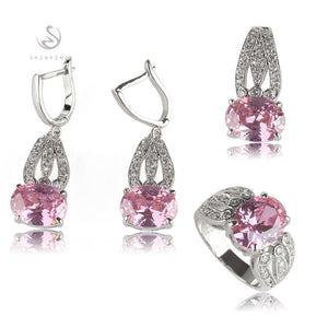 SHUNXUNZE boho wedding charm jewelry sets & more for women accessories Purple Pink Cubic Zirconia Rhodium Plated R531set R534set - thefashionique