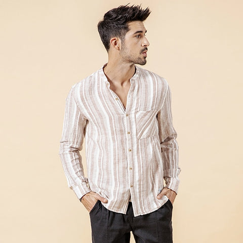 5476d271 SIMWOOD 2019 linen cotton shirts men spring summer new mandarin collar  causal vertical stripes long sleeve