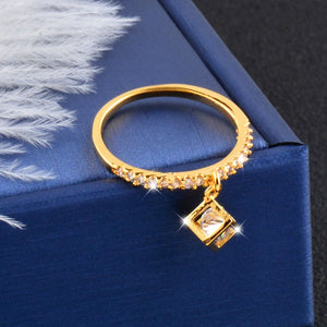 SINLEERY Charm Hollow Cube Crystal Inside Pendant Rings Women Girls Crystal Ball Drop Fashion Ring SSH - thefashionique