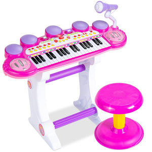 37-Key Kids Electric Keyboard w/ Microphone, Stool