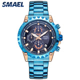 SMAEL New Sport Men Watch Stainless Steel Band Quartz Wristwatch Waterproof Watches Mens Top Brand Luxury Male Clock 9105