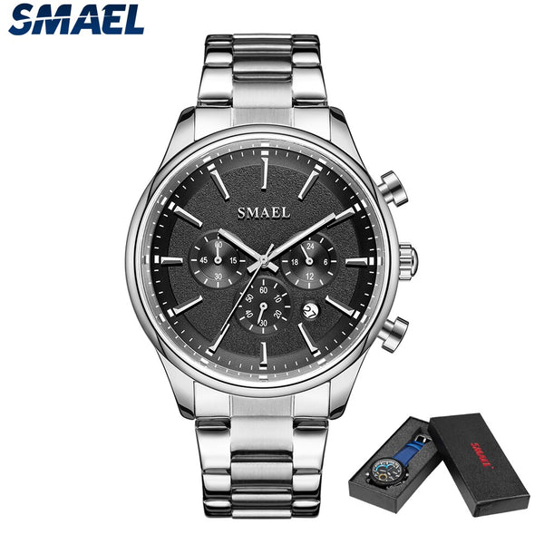 SMAEL Watch 2020 NEW Fashion Quartz Watches Men Stainless Steel Band Sport Wrist Watch Luxury Rose Gold Besiness Male Clock 9130