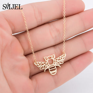 SMJEL Wild Animal Origami Gold Bee Pendant Necklace & Pendants Party Honey Bee Accessories Everyday Jewelry Ketting Gift - thefashionique