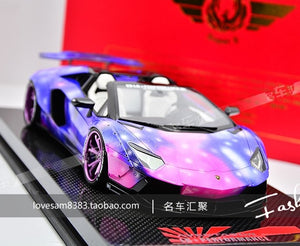 SUPER A 1:18 Diecast Car Model For Lamborghini LP700-4 Widebody Modified Version Starry Edition Son of starry sky With Box