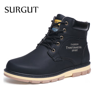 SURGUT Brand Hot Newest Keep Warm Men Winter Boots High Quality pu Leather Wear Resisting Casual Shoes Working Fashion Men Boots - thefashionique