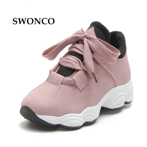 SWONCO Women's Vulcanize Shoes 2018 Spring Autumn Thick Sole Female Sneakers Platform Shoes Women Sneakers Casual Woman Shoe