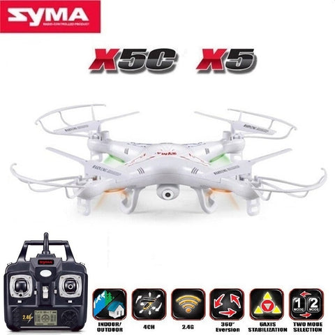 SYMA X5C (Upgrade Version) RC Drone 6-Axis Remote Control Helicopter Quadcopter With 2MP HD Camera or X5 RC Dron No Camera - thefashionique