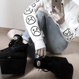 Sad Faces Emoticon Sleeves Printed Keyboard Sweatshirt  Black White Tumblr Hoodies Winter Tracksuit Clothing - thefashionique