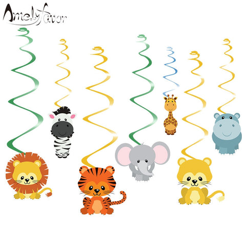 Safari Animal Jungle Ceiling Hanging Swirl Decorations Boy Baby Shower Cutout Festive Party Supplies DIY Decorations Event Party
