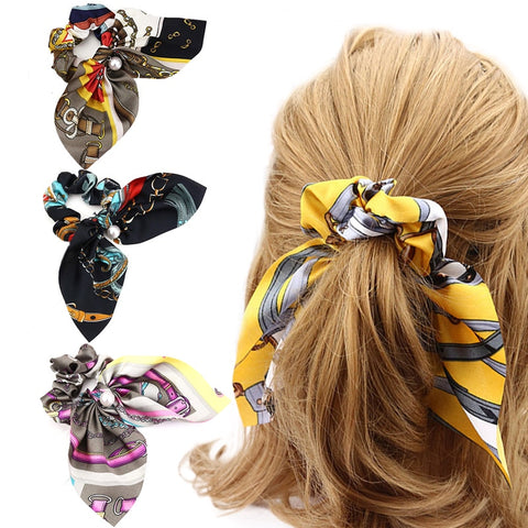 Sale 1PCLarge Bowknot Korean Hair Rope Lady Pearl Hair Band Floral Printed Sweet Women Girls Elastic Hair Bands Hair Accessories