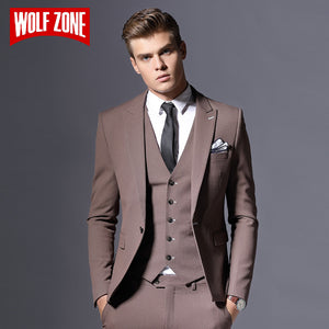 Sale Brand Mens Suit Jacket Formal Business Blazer Men Groom Three Pieces Slim Fit Party Clothing Single Button Wedding Dress - thefashionique