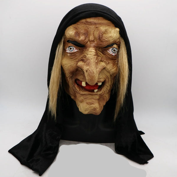 Scary Adult Old Witch Mask Latex Creepy Halloween Fancy Dress Grimace Party Costume Accessory Cosplay Props