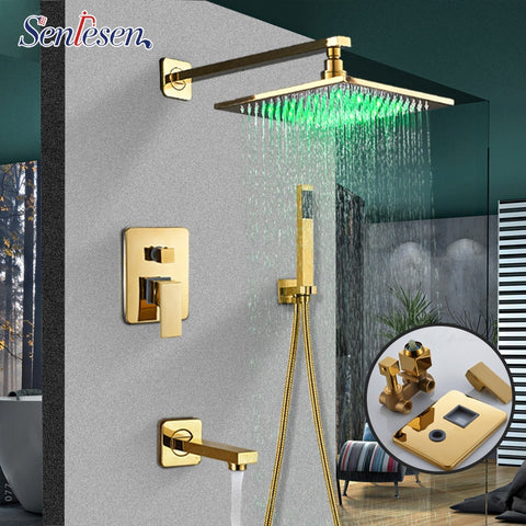 "Senlesen Gold Brass Shower Faucet with 8"" LED Shower Head W/ Hand Shower Para Bathroom Shower Set Wall Mount Bath Sets - thefashionique"