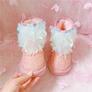 Sequins 2018 Girls Snow Boots Parent-child Boots Autumn And Winter Princess Velvet Baby Cotton Shoes Children's Winter Shoes
