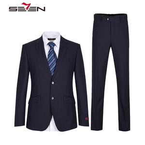 Seven7 2018 Brand Navy Blue Suit Men Wedding Groom Mens Suits Slim Fit Formal Wear Business Male Jacket Pants 2 Pieces 608C16050 - thefashionique