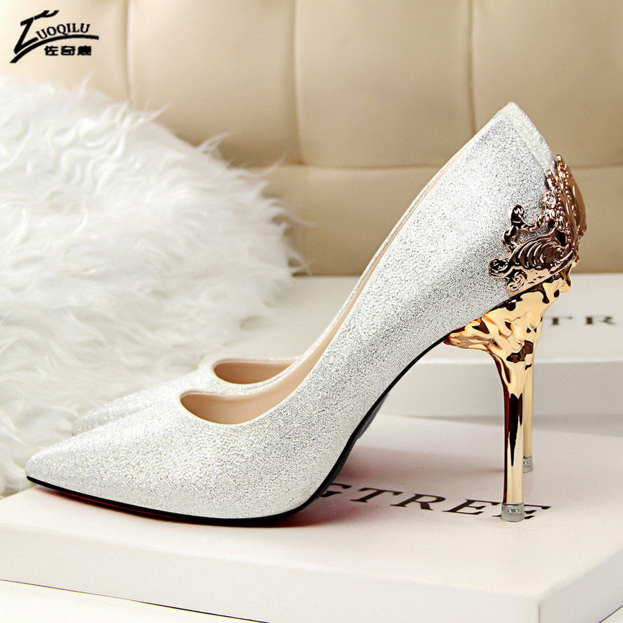 Sexy High Heels Women Shoes Red Gold